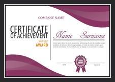 Plantilla del certificado, disposición del diploma Fotografía de archivo libre de regalías