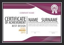 Plantilla del certificado, disposición del diploma Foto de archivo
