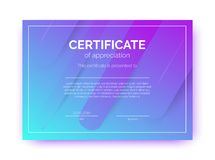 Plantilla del certificado para el negocio, cursos, competencia en estilo abstracto del minimalismo stock de ilustración