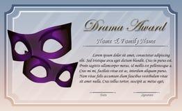 Plantilla del certificado para el premio del drama stock de ilustración