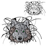 Plantilla del color de la silueta del lobo Imagen de archivo