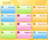 Plantilla 2016 del color del calendario Fotos de archivo