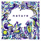 Plantilla del color del vector Pájaro tropical exótico, naturaleza Frontera floral del bosquejo del arte libre illustration
