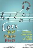 Plantilla del concepto de la nota del auricular del cartel del partido de la música Foto de archivo libre de regalías