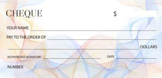 Plantilla del control del cheque, plantilla del talonario de cheques Cheque en blanco del banco con el modelo del guilloquis y la libre illustration