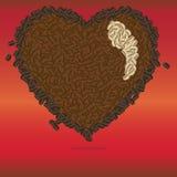 Plantilla del corazón del café Fotos de archivo