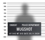 Plantilla del criminal del mugshot de la policía Mugshot criminal del retrato de la detención de la formación de la silueta del v ilustración del vector