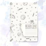 Plantilla del cuaderno con garabatos dibujados mano de la astronomía Foto de archivo libre de regalías