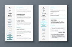 Plantilla del curriculum vitae y del vector del cv Impresionante para los usos de trabajo stock de ilustración