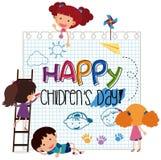 Plantilla del día de los niños felices stock de ilustración