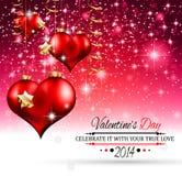 Plantilla del día de tarjeta del día de San Valentín con los corazones imponentes Foto de archivo libre de regalías