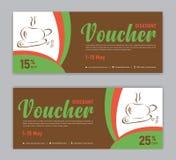 Plantilla del descuento del vale del café, vale de regalo, etiqueta, bandera, anuncio libre illustration
