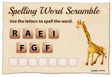 Plantilla del despegue en tiempo mínimo de la palabra del deletreo con la jirafa de la palabra Imágenes de archivo libres de regalías