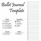 Plantilla del diario de la bala Perseguidor simple de la tarea de los papeles Imagen de archivo libre de regalías