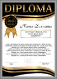 Plantilla del diploma o del certificado Fondo vertical Th que gana Foto de archivo