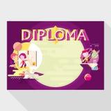 Plantilla del diploma para la escuela Imagenes de archivo