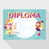 Plantilla del diploma para la escuela Fotografía de archivo