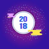 Plantilla del diseño del Año Nuevo del vector 2018 fotografía de archivo