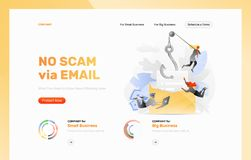 Plantilla del diseño del ataque del correo electrónico del phishing stock de ilustración