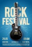 Plantilla del diseño del aviador o del cartel del partido del concierto del festival de la roca azul del ejemplo del vector con l stock de ilustración