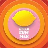 Plantilla del diseño del aviador del partido de la playa del verano del vector hola con el limón fresco aislado en fondo abstract Imagenes de archivo