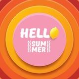 Plantilla del diseño del aviador del partido de la playa del verano del vector hola con el limón fresco aislado en fondo abstract Fotos de archivo libres de regalías