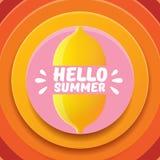 Plantilla del diseño del aviador del partido de la playa del verano del vector hola con el limón fresco aislado en fondo abstract Foto de archivo libre de regalías