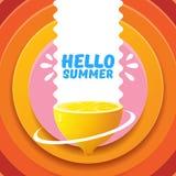 Plantilla del diseño del aviador del partido de la playa del verano del vector hola con el limón fresco aislado en fondo abstract Fotografía de archivo libre de regalías