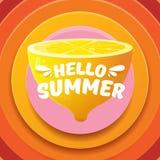 Plantilla del diseño del aviador del partido de la playa del verano del vector hola con el limón fresco aislado en fondo abstract Fotografía de archivo