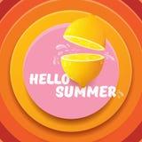 Plantilla del diseño del aviador del partido de la playa del verano del vector hola con el limón fresco aislado en fondo abstract Imágenes de archivo libres de regalías
