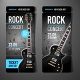 Plantilla del diseño del boleto del concierto de rock del ejemplo del vector con la guitarra negra stock de ilustración