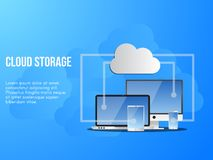 Plantilla del diseño conceptual del ejemplo del almacenamiento de la nube libre illustration