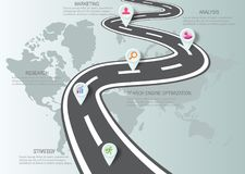 Plantilla del diseño: Cronología del negocio del mapa de camino Imagenes de archivo