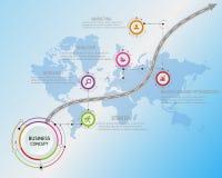 Plantilla del diseño: Cronología del negocio del mapa de camino, vector Foto de archivo libre de regalías