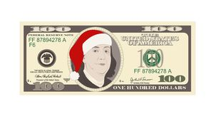 Plantilla del diseño 100 dólares de billete de banco con el sombrero rojo de Papá Noel ilustración del vector