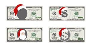Plantilla del diseño 100 dólares de billete de banco con Santa Claus Imagen de archivo