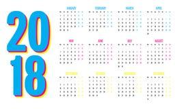 Plantilla del diseño de 2018 calendarios Fotos de archivo libres de regalías