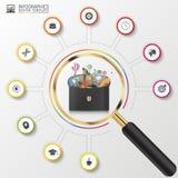 Plantilla del diseño de Infographic Caso creativo del negocio Círculo colorido con los iconos Vector Imágenes de archivo libres de regalías