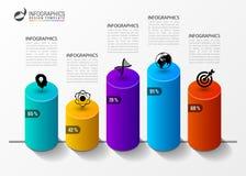 Plantilla del diseño de Infographic Columnas y el por ciento Vector Foto de archivo