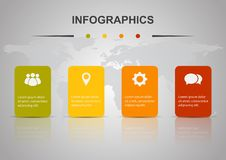 Plantilla del diseño de Infographic con cuatro rectángulos libre illustration