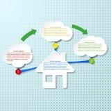 Plantilla del diseño de Infographic con la casa stock de ilustración