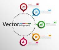 Plantilla del diseño de Infographic con los círculos Concepto del negocio con 5 opciones stock de ilustración