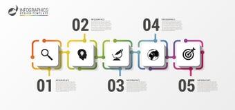Plantilla del diseño de Infographic Concepto de la cronología con los iconos ilustración del vector