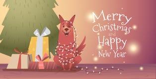 Plantilla del diseño de la bandera con feliz Navidad de la enhorabuena y Año Nuevo libre illustration