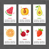 Plantilla del diseño de la bandera con la decoración de la comida Fije la tarjeta con la decoración de la fruta sana, jugosa Plan stock de ilustración