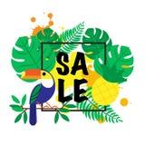 Plantilla del diseño de la bandera del ejemplo del vector con las hojas de palma tropicales, plantas, tucán y con descensos de la stock de ilustración