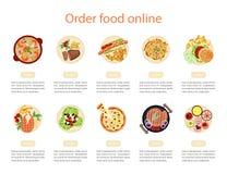 Plantilla del diseño de la bandera del web para la comida de la orden fotografía de archivo libre de regalías