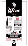 Plantilla del diseño de la carta de vinos Foto de archivo libre de regalías