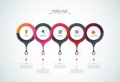 Plantilla del diseño de la cronología del infographics del vector Imágenes de archivo libres de regalías