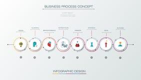 Plantilla del diseño de la cronología del infographics del vector con diseño de la etiqueta Fotos de archivo